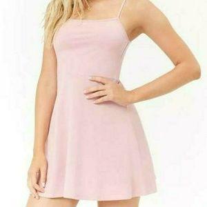 Pink cami fit & flare mini dress